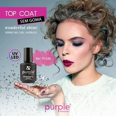Top Wonderful Shine Purple - Finalizante brilho sem goma para Verniz Gel, Gel e Acrílico