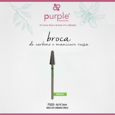 Broca de Carbono Cónica PURPLE 6 x 14.5mm