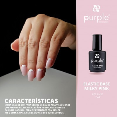 Elastic Base Milky Pink - Mega Base para Verniz Gel da PURPLE