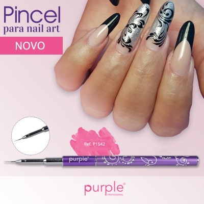 Pincel Nylon Micro Nail Art Purple #000