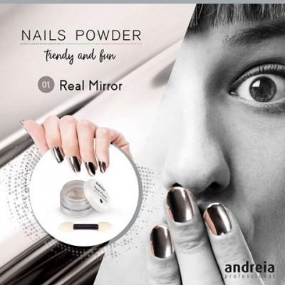 Pó de Efeito Andreia – Real Mirror Nails Powder – Efeito espelho verdadeiro + Aplicador
