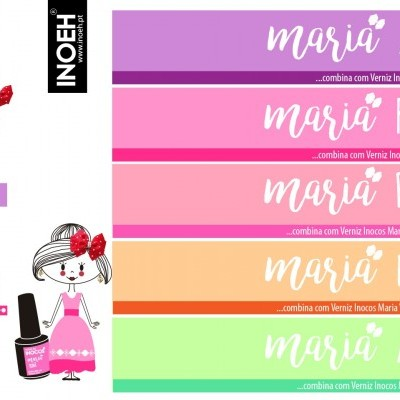 "Verniz Gel Inocos — Coleção ""As Marias"" — 5 TONS PASTEL NEON"