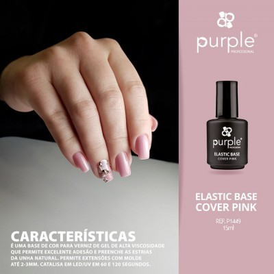 Elastic Base Cover Pink - Mega Base para Verniz Gel da PURPLE