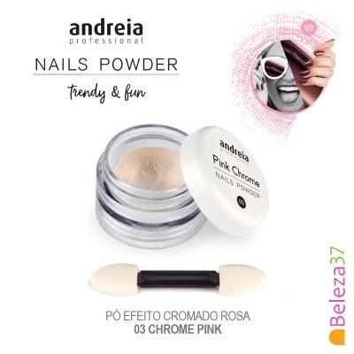 Pó de Efeito Andreia – Pink Chrome Nails Powder – Efeito cromado rosa + Aplicador