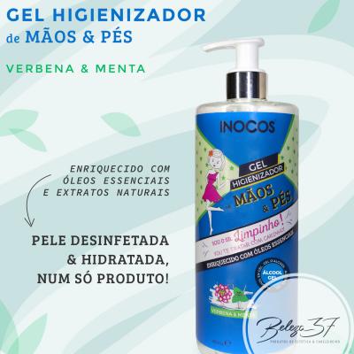 Gel Higienizador de Mãos e Pés Inocos - Verbena e Menta 500ml