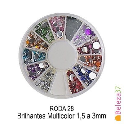 RODA 28 – Brilhantes Multicolor 1,5 a 3mm
