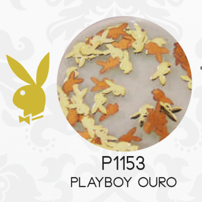 Placa Playboy Ouro - Nail Art Purple P1153