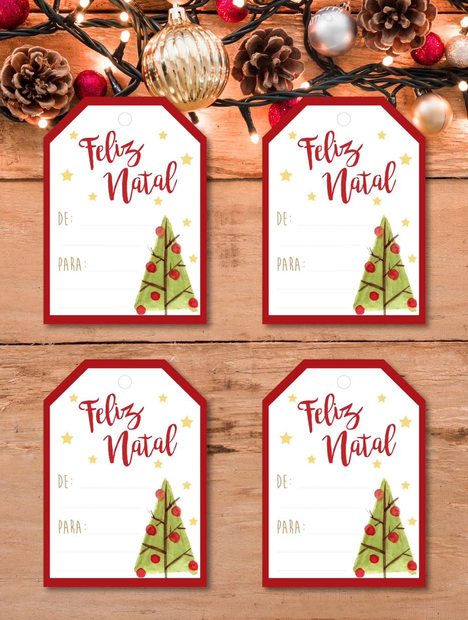 Etiquetas de cartão Árvore de Natal