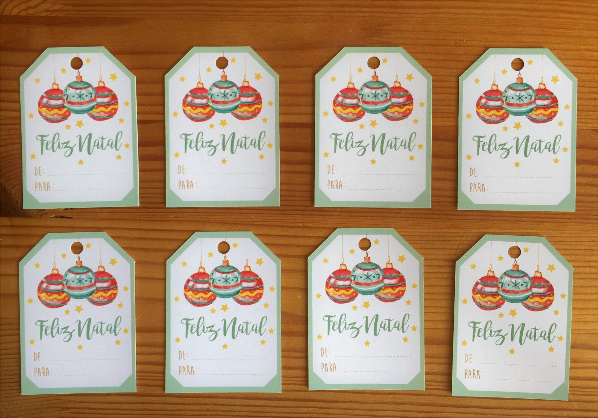Etiquetas de cartão Bolas de Natal