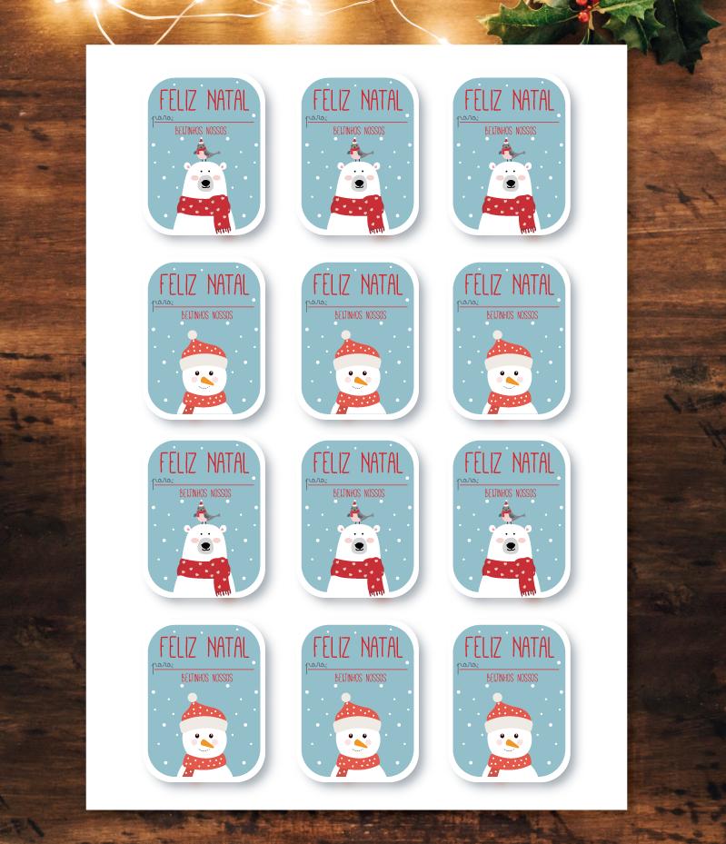 Etiquetas autocolantes Boneco de Neve e Urso