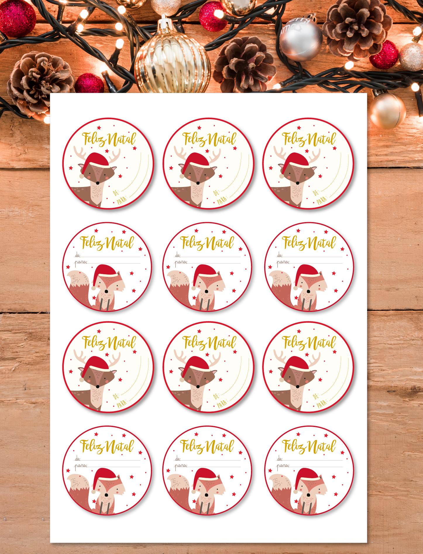 Etiquetas autocolantes Animais de Natal