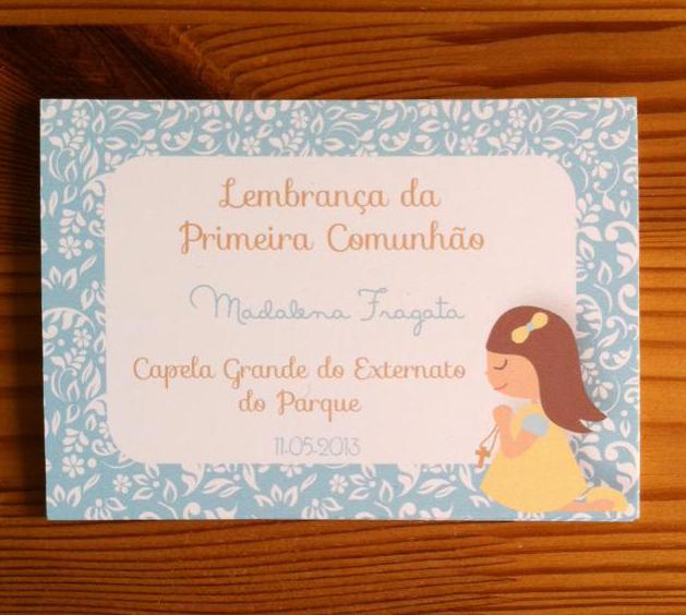 Cartões Primeira Comunhão - menina