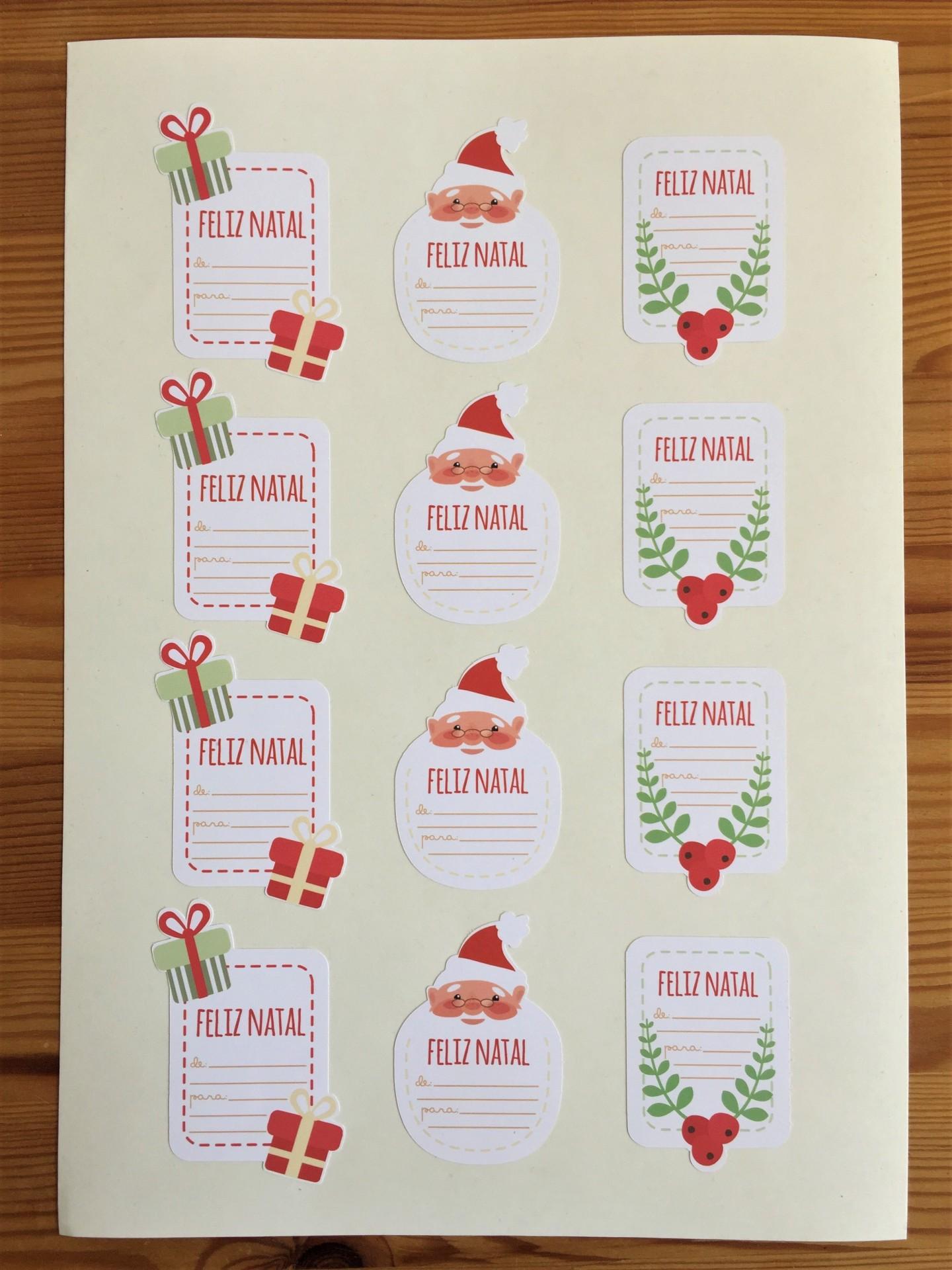 Etiquetas autocolantes Pai Natal, Azevinho e Presente