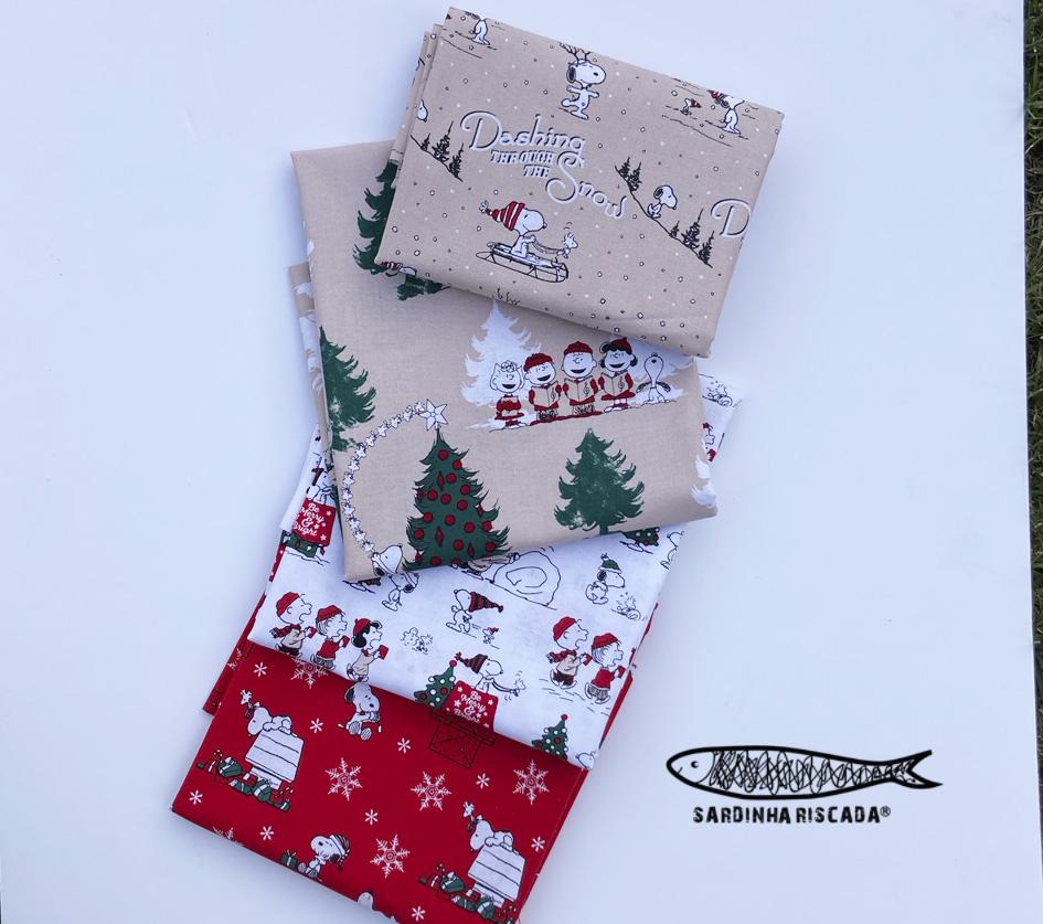 Snoopy Natal - conjunto 4 tecidos