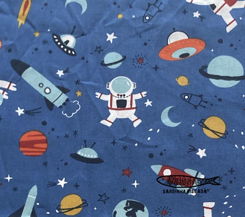 Espaço - Fundo Azul - Algodão Orgânico