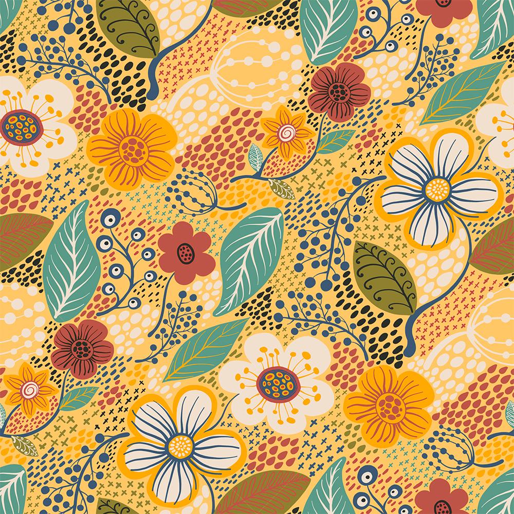 Contemporâneo - Flores Grandes Amarelo