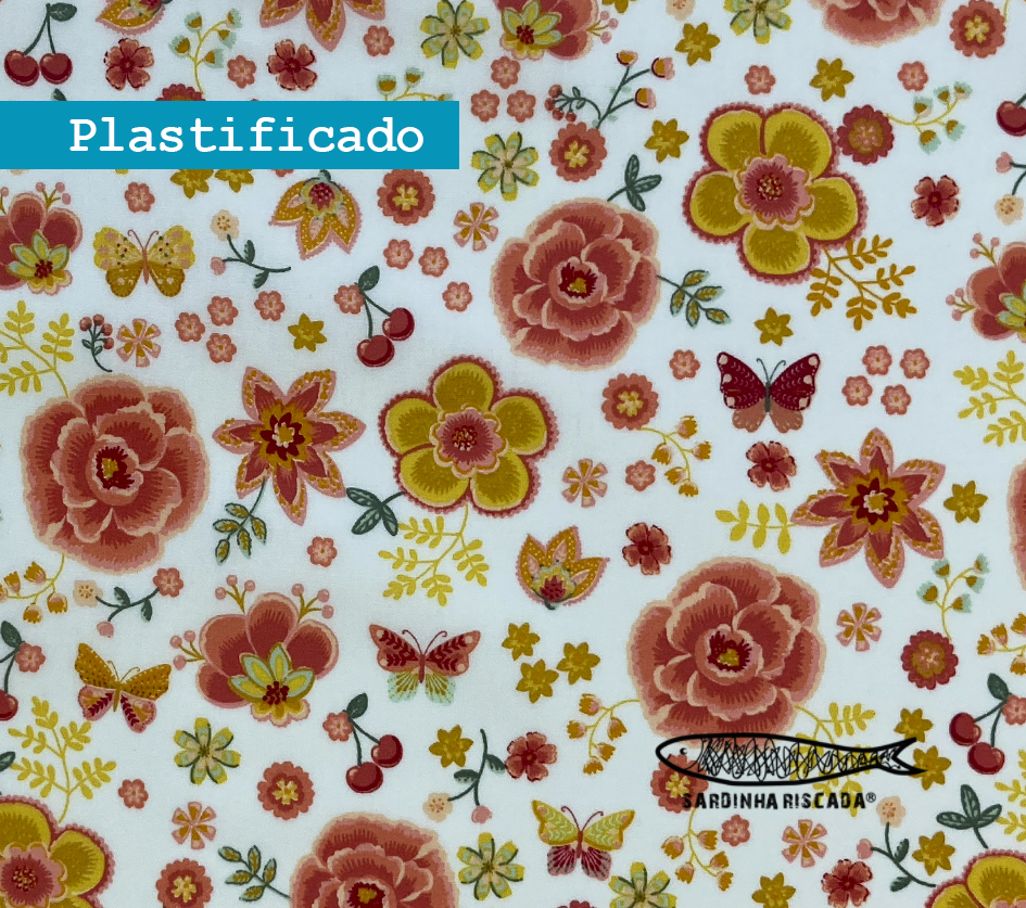 Happy Feelings - Borboletas e Flores  Branco - Plastificado