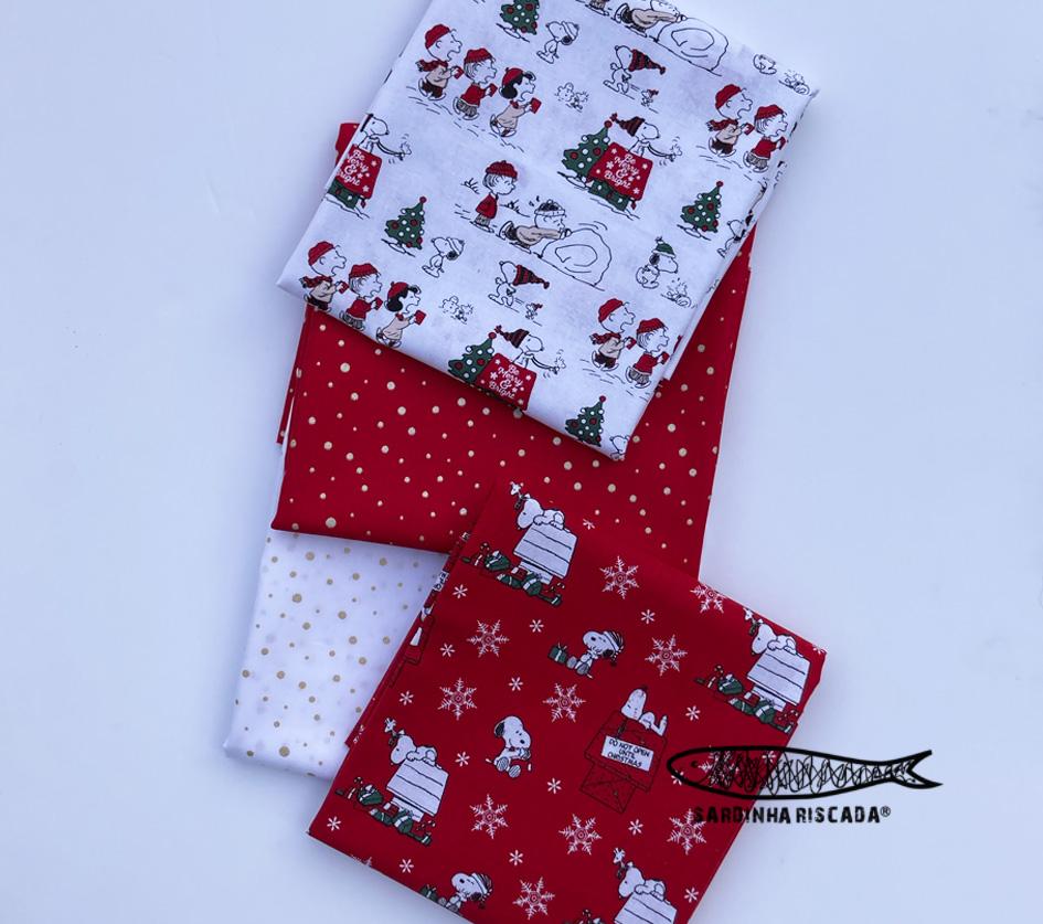 Snoopy Branco e Vermelho - conjunto 4 tecidos