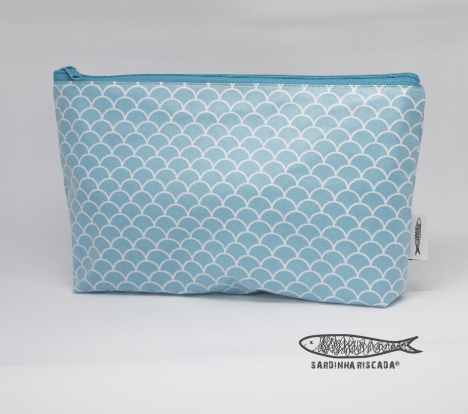 Bolsa Plastificada Escamas Azuis