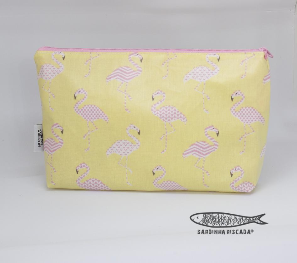Bolsa Plastificada Flamingos Amarela