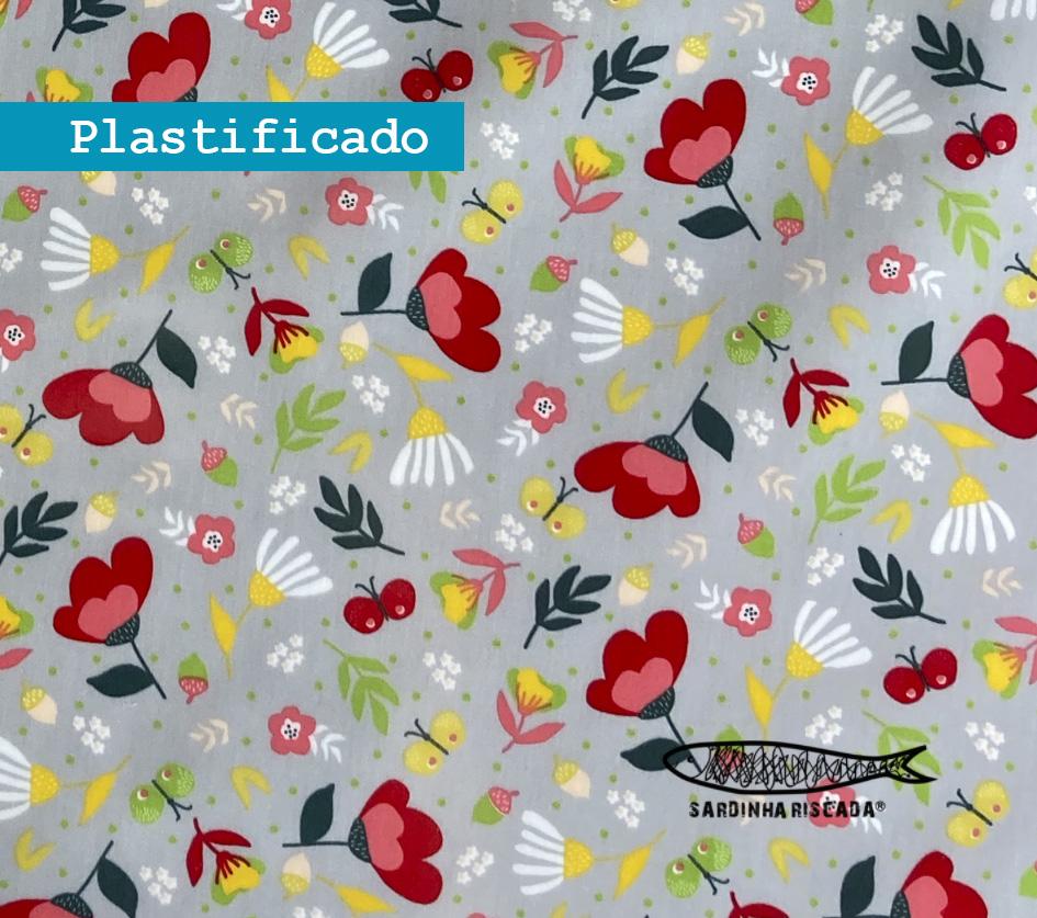 Flowers Cinza  - Plastificado