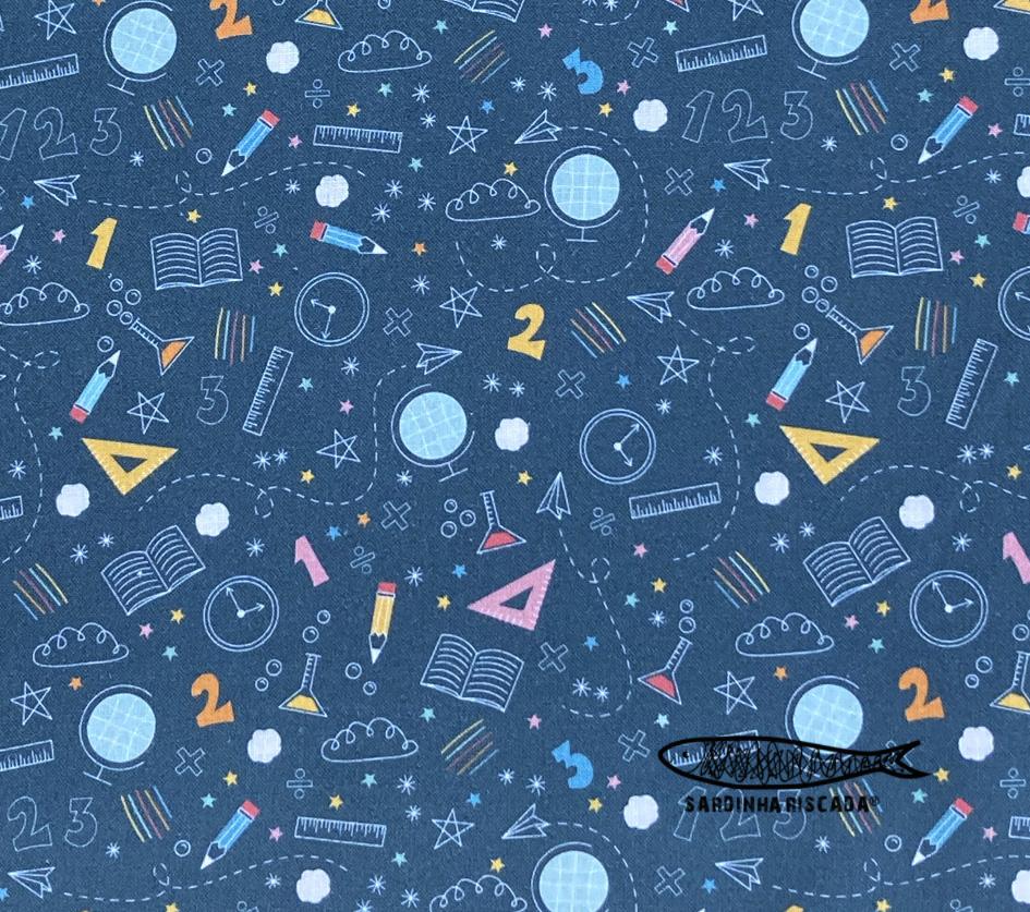 Back to School  - Azul  - Algodão Orgânico