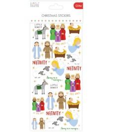 Christmas Glitter Stickers - Nativity