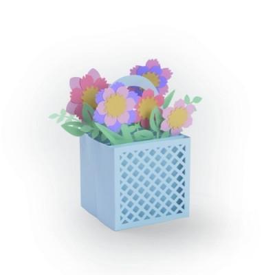 Card in a box, flower basket
