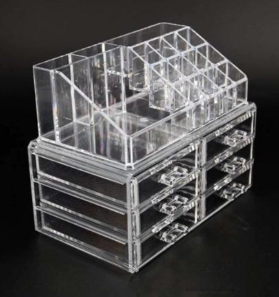Organizador de Maquilhagem - Acrílico com 6 gavetas e cubículos para 12 batons