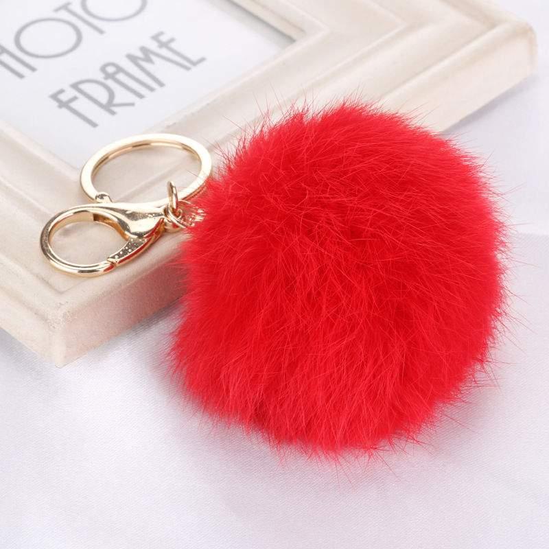 Porta-Chaves Pompom Pequeno Vermelho Vivo