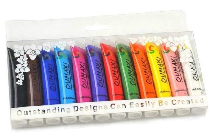 Conjunto de 12 cores de Tintas Acrílicas