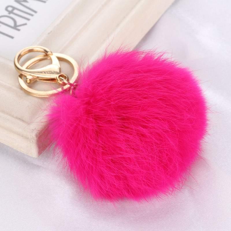 Porta-Chaves Pompom Pequeno Rosa Choque