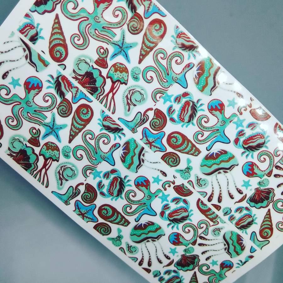 Decalques de Verão - Polvos, Caranguejos e Conchinhas