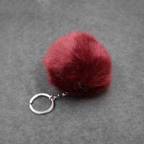 Porta-Chaves Pompom Pequeno Vermelho Escuro