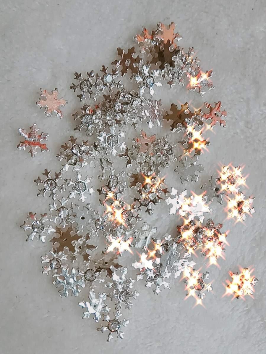 Flocos de Neve Prateados 3D - 1 Par
