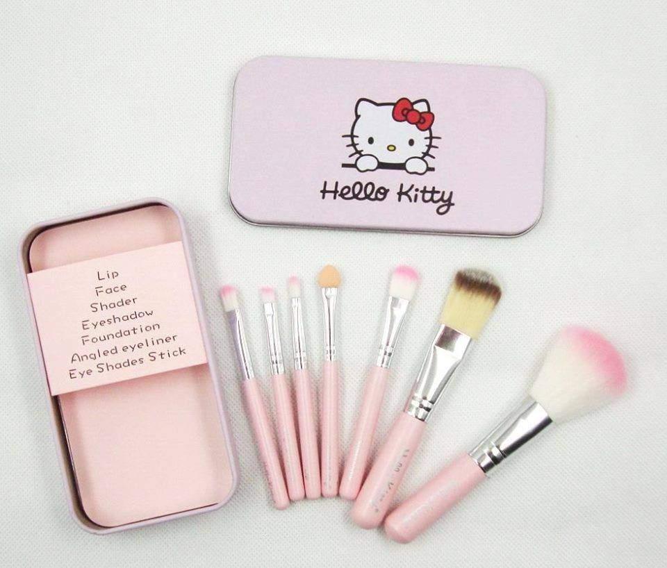 Pincéis Hello Kitty Cor de Rosa para Maquilhagem