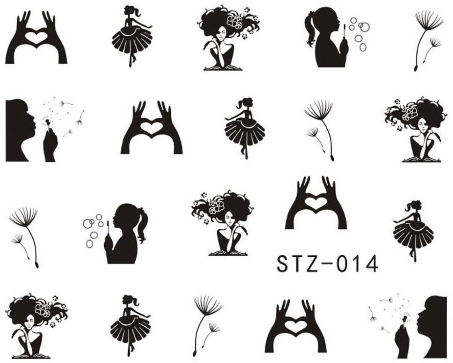 Decalques STZ-014 (Bailarina, Amor, Bolas de Sabão, Dente de Leão...)