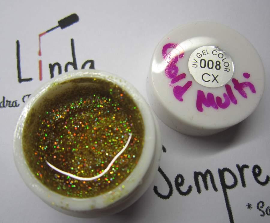 Gel Glitter Gold Multi - 008 - 5 ml