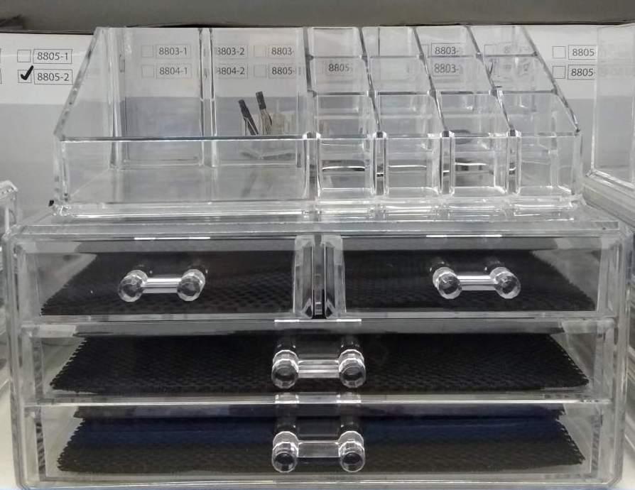 Organizador de Maquilhagem - Acrílico com 4 gavetas e cubículos para 12 batons