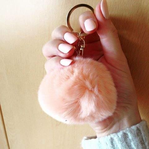 Porta-Chaves Pompom Pequeno Rosa Suave