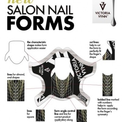 Moldes para Extensões Victoria Vynn - Salon Nail Form Black - 100 Unidades