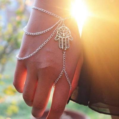 Pulseira de mão - Com mão de Fátima - Hamsa