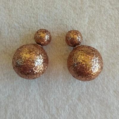 Brincos Bolas Douradas com Glitter