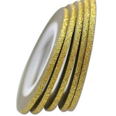 Fita Metálica Fina com Glitter - Dourada - Uma Unidade
