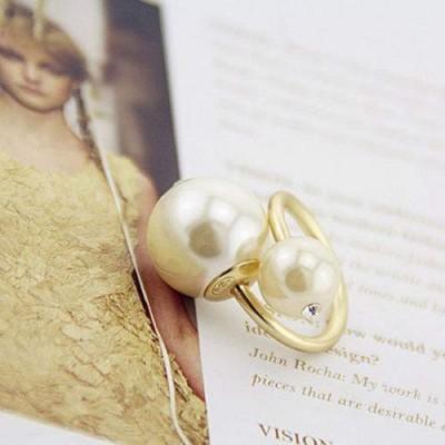 Anel Dourado Pérola Grande e Pequena
