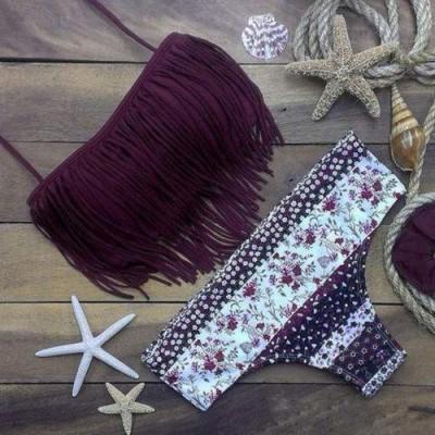 Bikini Bordeaux com Franjas - Tamanho L - Large