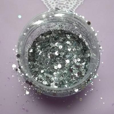 Glitter e Confetis Prateados - 10 gr
