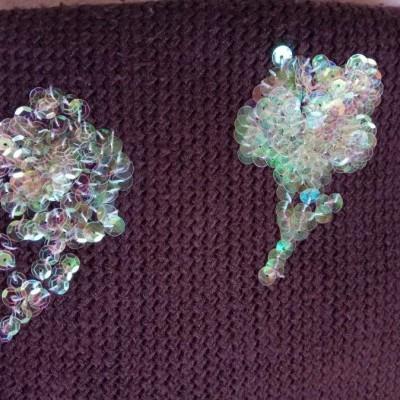Cachecol Castanho em lã com lantejoulas