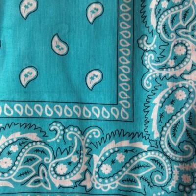 Lenço Bandana com cornucópias - Azul Turquesa