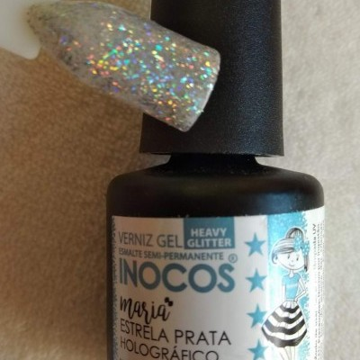 Verniz Gel Inocos Estrela Prata Holográfico - 15 ml